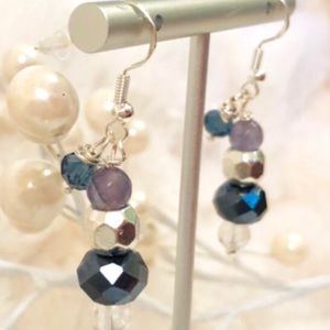 Handmade Sterling Earrings Purple & Blues